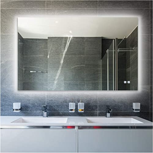 ROGSFN 23.6 x31.5 LED Rectangle Backlit Fogless Bathroom Vanity Mirror Lighted Framelss Makeup Wall Mounted Defogger Mirrors Dimmer Touch On Button Horizontal Vertical