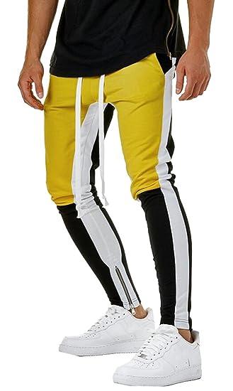 620812df0418e3 Fensajomon Mens Drawstring Pencil Casual Plus Size Elastic Waist Zip Trim Color  Block Sweatpants Pants Trousers
