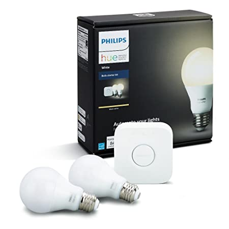 Philips Hue White A19 60W Equivalent Dimmable LED Smart Bulb Starter Kit 2 A19 60W White Bulbs and 1 Hub Compatible with Amazon Alexa Apple HomeKit and Google Assistant , 2 Pack
