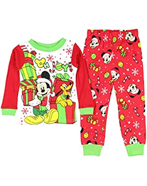 Mickey Mouse Pluto Little Boys Toddler Christmas Cotton Pajama Set
