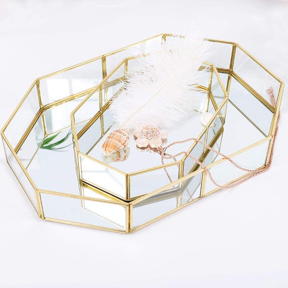 Vetro Vetro Vetro Trucchi Organizzatore Trucco Gioielli Vassoio per T/è Gioielli Semplice Decorazione Casa Storage Octagonal Gold Sponsi Vassoio a specchio