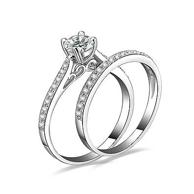 (personalizada anillo) Adisaer conjunto de anillos para las mujeres juego de anillos de boda bandas circonitas con grabado de plata: Amazon.es: Joyería