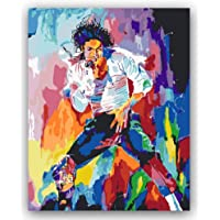 MBYWQ Digitale Olio Pittura Colorare Fai-da-Te Immagini in Numeri con Colori Dipinto Disegno di Michael Jackson(Senza Telaio)
