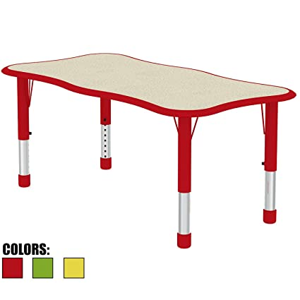 Merveilleux 2xhome Kids Table   Height Adjustable Wavy Rectangle Shape Child Laminate  Top Activity Table Bright Colorful