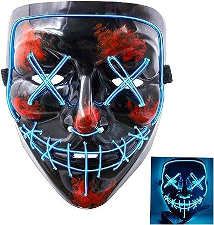 EL LED Light Up Face Mask Flashing Luminous Halloween Costume Party Decor