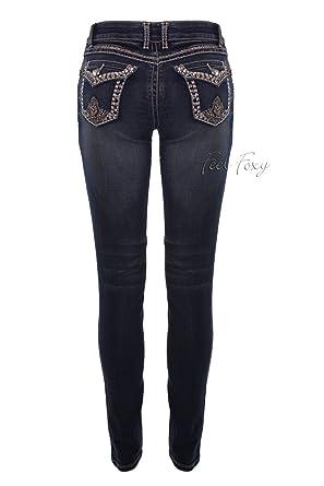 c64f6fb023e Feel Foxy Women s Shimmer Jeans 13 Blue at Amazon Women s Jeans store