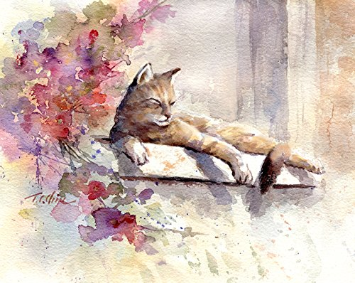 int of Watercolor Painting - Gift for Cat Lovers ()