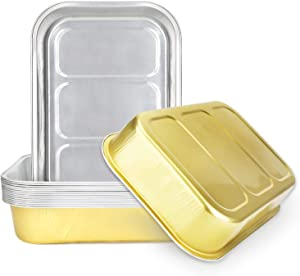 Disposable Aluminum Foil Pans 9 x 13, Beasea 15 Pack Tin Baking Pans Half Size Deep Aluminum Baking Foil Pans Roasting Pans Cake Pan - Gold