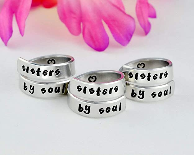 d2c56bdf895cb Amazon.com: sisters by soul -Hand Stamped Aluminum Spiral Wrap Ring ...