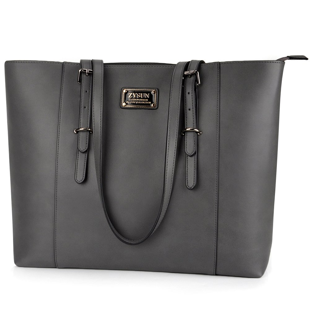 ZYSUN Laptop Tote Bag,15.6 in Large Capacity PU Leather Multi-Pockets Ease Zipper Work Shoulder Bag for Women