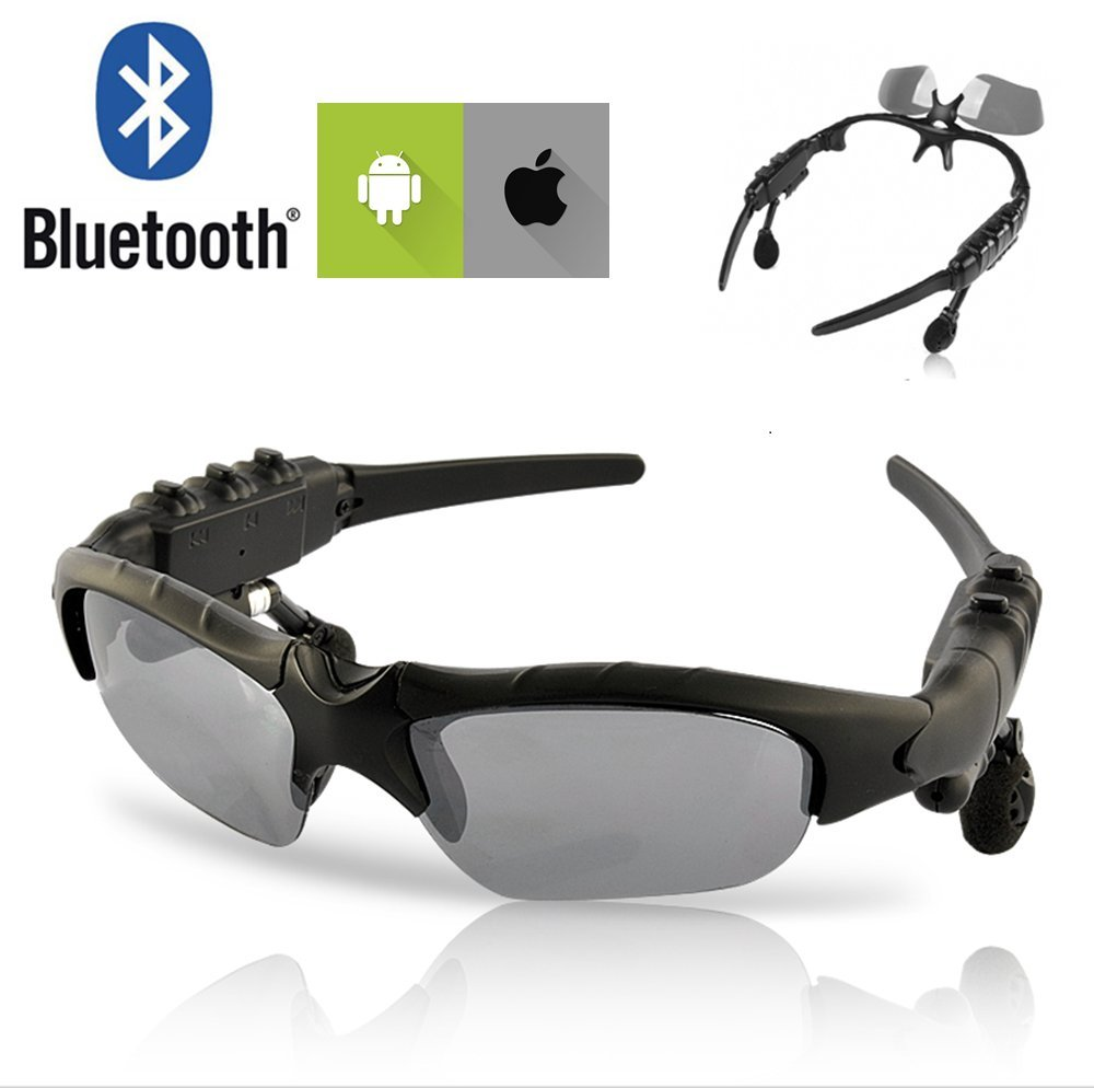 Bluetooth Wireless Sport Polarized Sunglasses Headphones, Tinted Glasses with Built-in Headset - for Biker, Motorcycle, Driving, Sports, Outdoor, Biking - Black Frame - Adjustable Sunshades Earbuds by NEEGO