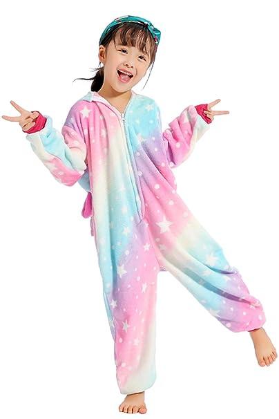 Niños Unicornio Onesie Pijamas Fluffy Franela Ropa de Dormir Animal Novedad Disfraces Cosplay Pijamas para niños