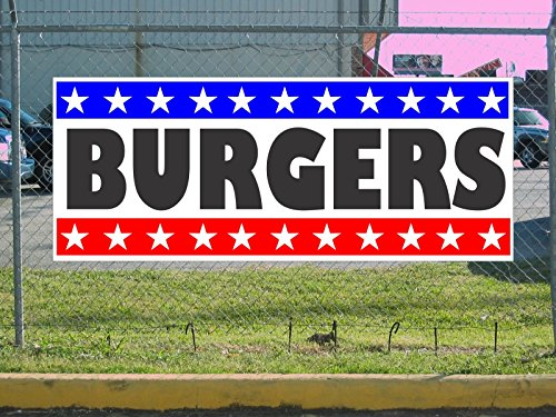 - Burgers 2x5 Banner Sign Stars and Stripes