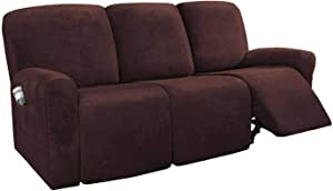 MO&SU Velvet Stretch Recliner Slipcover for 1 2 3 Seater Reclining Cover for Armrest Recliner Furniture Protector Sofa Cover-Light Brown-Sofa (8 PCS)