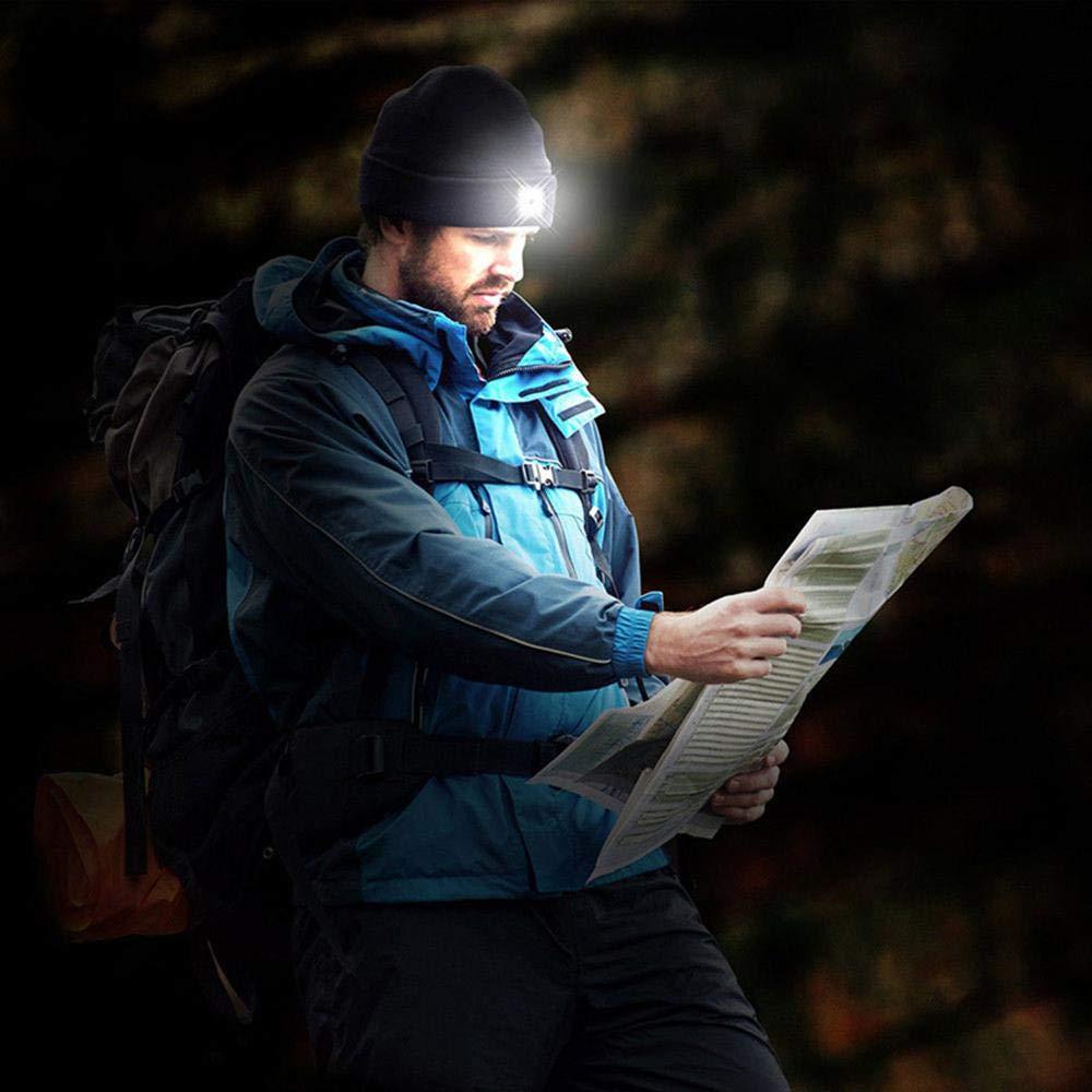Senderismo Acampar Parrillas Caminar con Manos Libres Unisex para Invierno KOBWA Gorro de Lana Luces LED