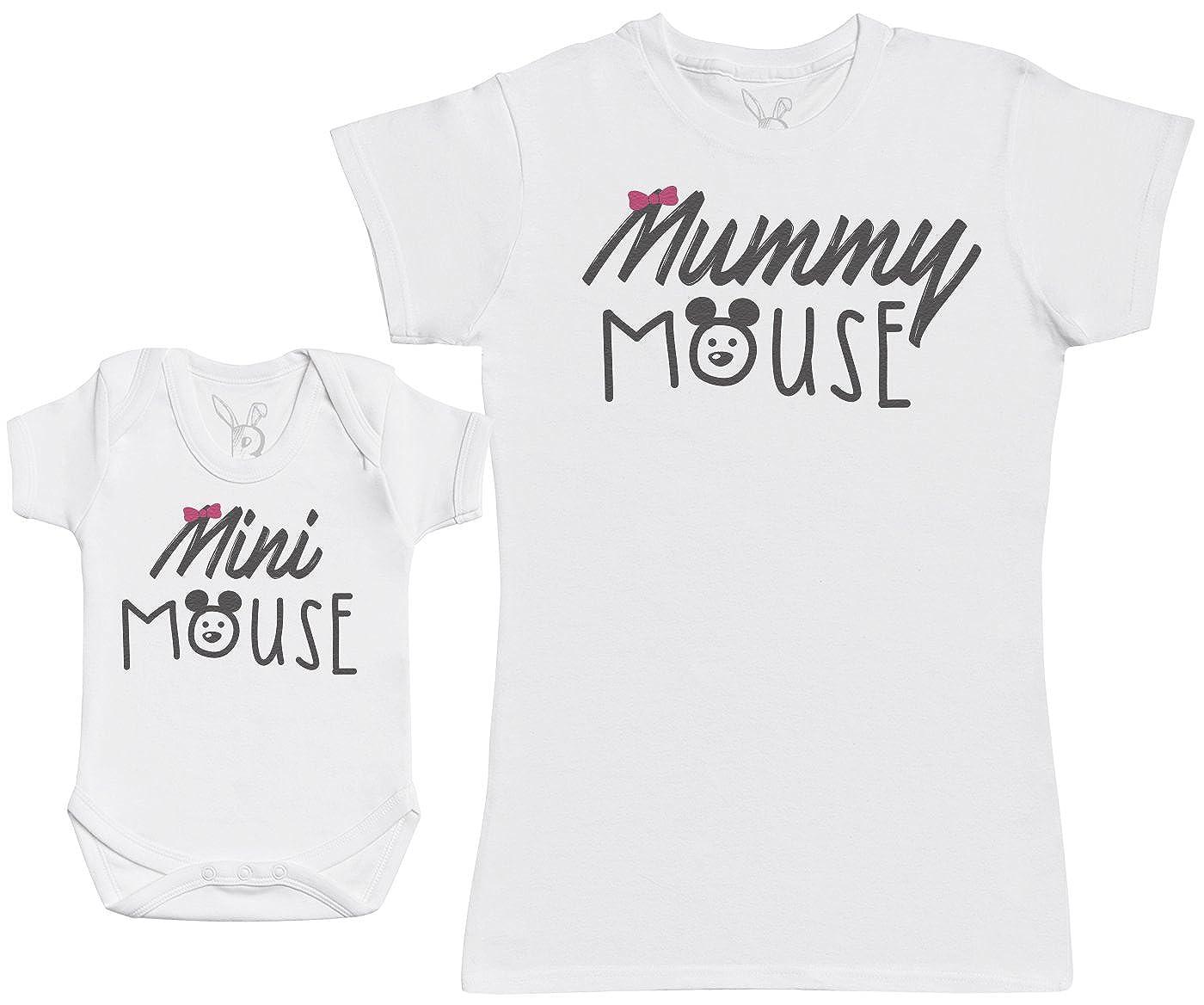 Baby Bunny Mini Mouse - Ensemble Mère Bébé Cadeau - Femme T Shirt & bébé Bodys a-MS13-W-BB