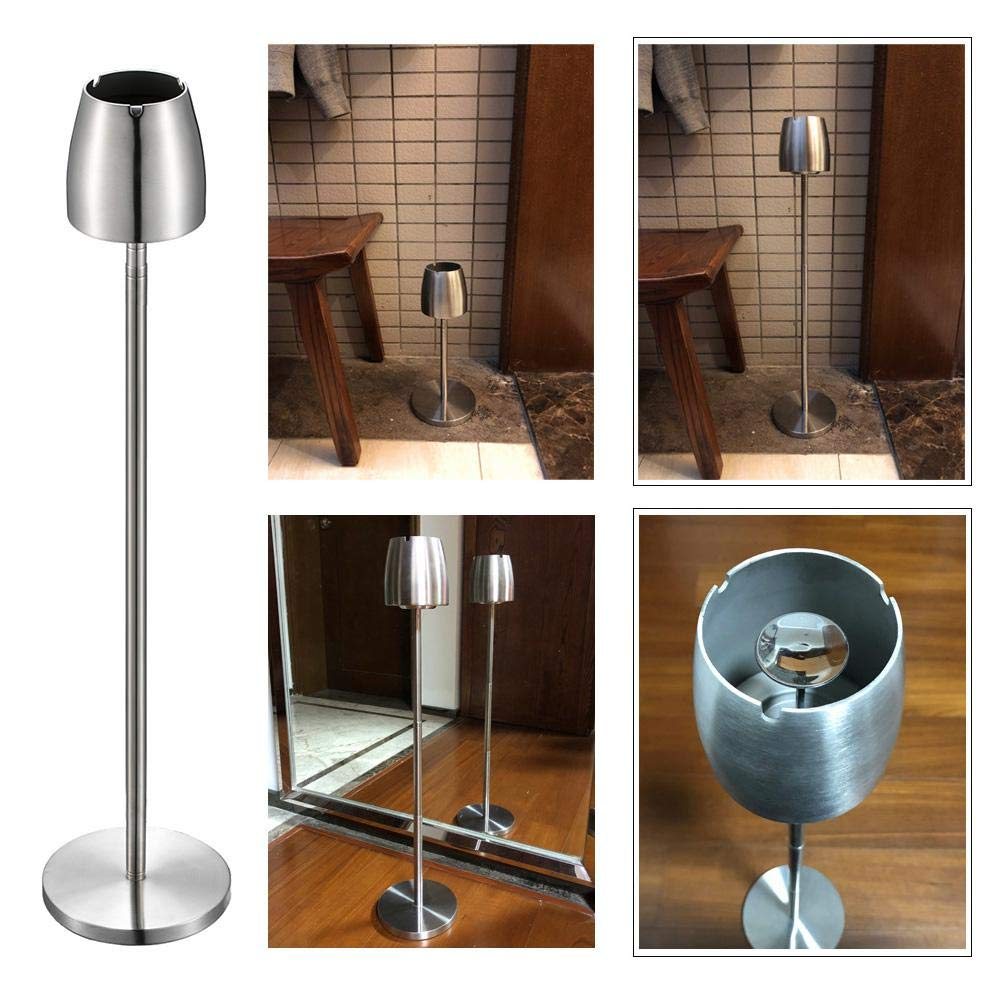 Volwco Stainless Steel Outdoor Ashtray,Floor-Standing Ashtray with Telescopic Stand Windproof Large Ashtray Container As A Decorated Ash Tray for Home//Outside//Bar//Office//Cafe