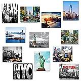 "12 Various Frameable Collectible New York City Landmark Photos Decorative NY Pictures NYC Souvenir Wall Poster Prints - 8"" X 10"" (Set B)"