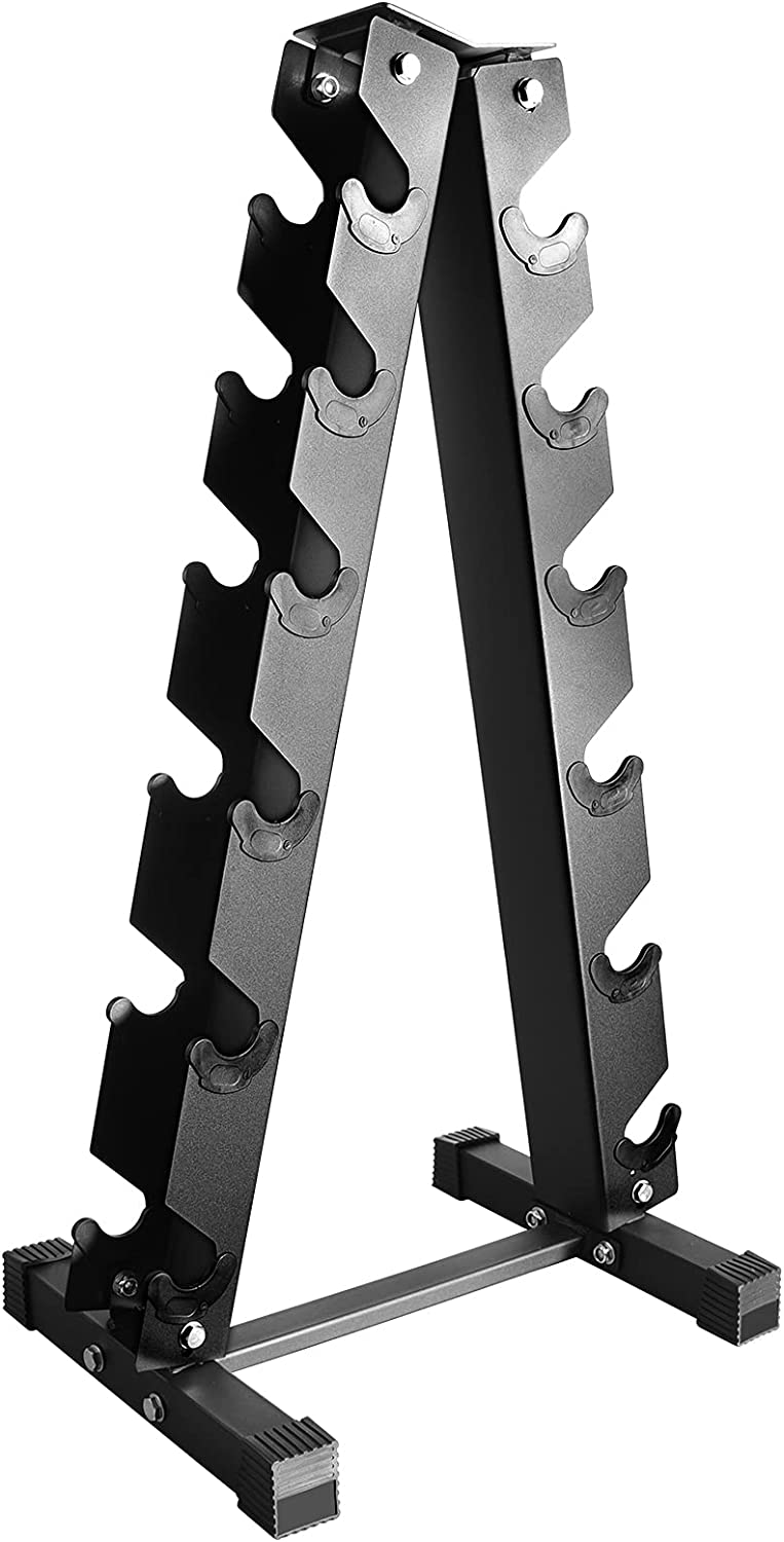 Small and Beauty 6 Tier Dumbbell Rack for Home Gym,Triangle Weight Rack for Dumbbells, A-Frame Weight Rack Stand,Strength Training Weight Racks,Weight Tree