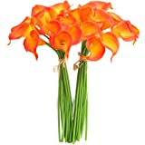 Calla Lily Bridal Wedding Party Decor Bouquet PVC Real Touch Flower Artificial Flowers Pack of 20(Sunset)