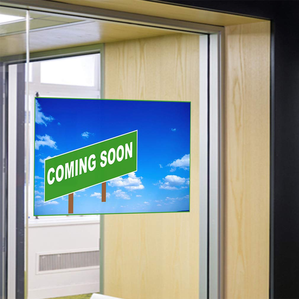 Set of 2 52inx34in Decal Sticker Multiple Sizes Coming Soon Blue Green Business Coming Soon Outdoor Store Sign Blue