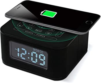 Homtime Bluetooth Alarm Clock with Wireless Charging
