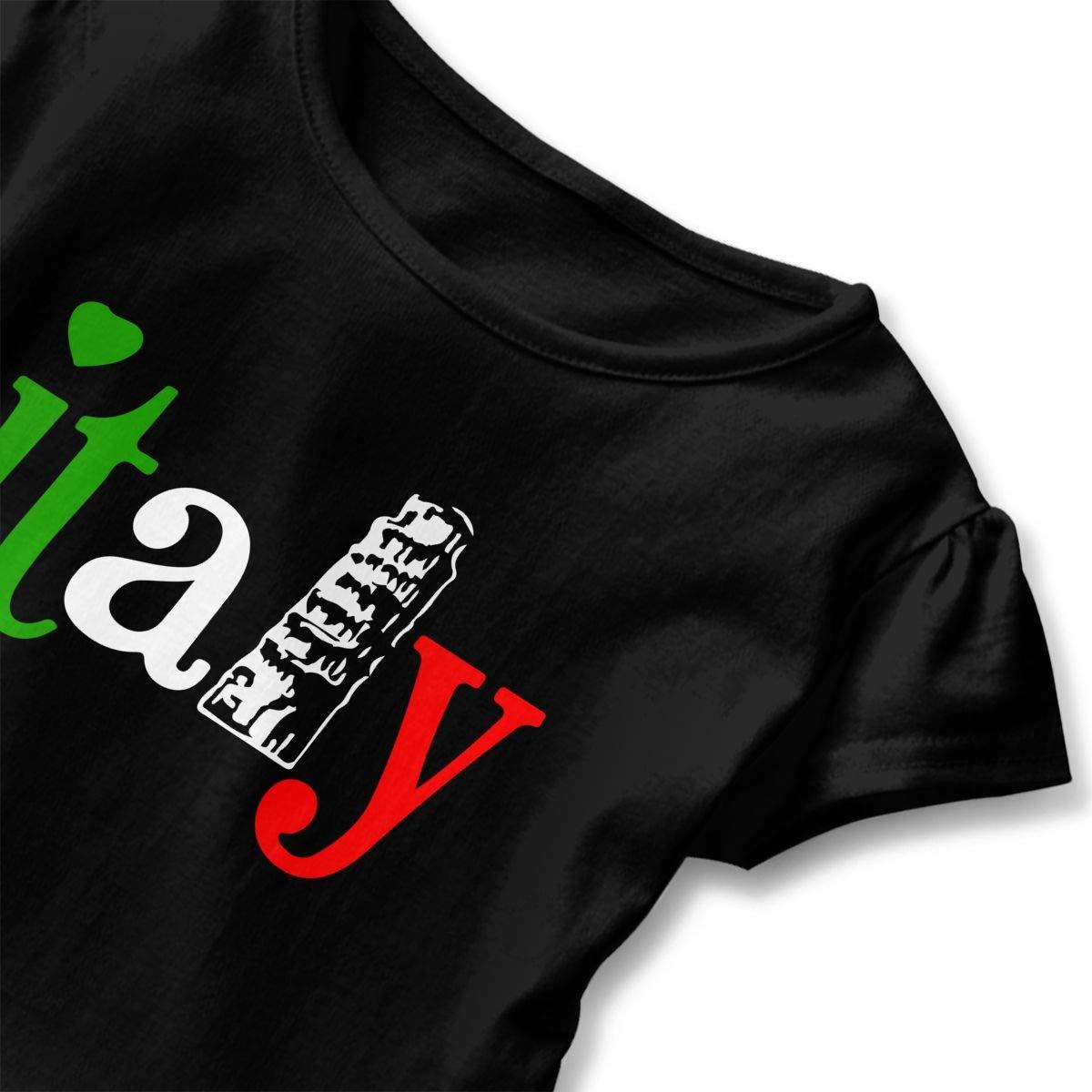 SHIRT1-KIDS Italy Heart Childrens Girls Short Sleeve T-Shirts Ruffles Shirt Tee Jersey for 2-6T