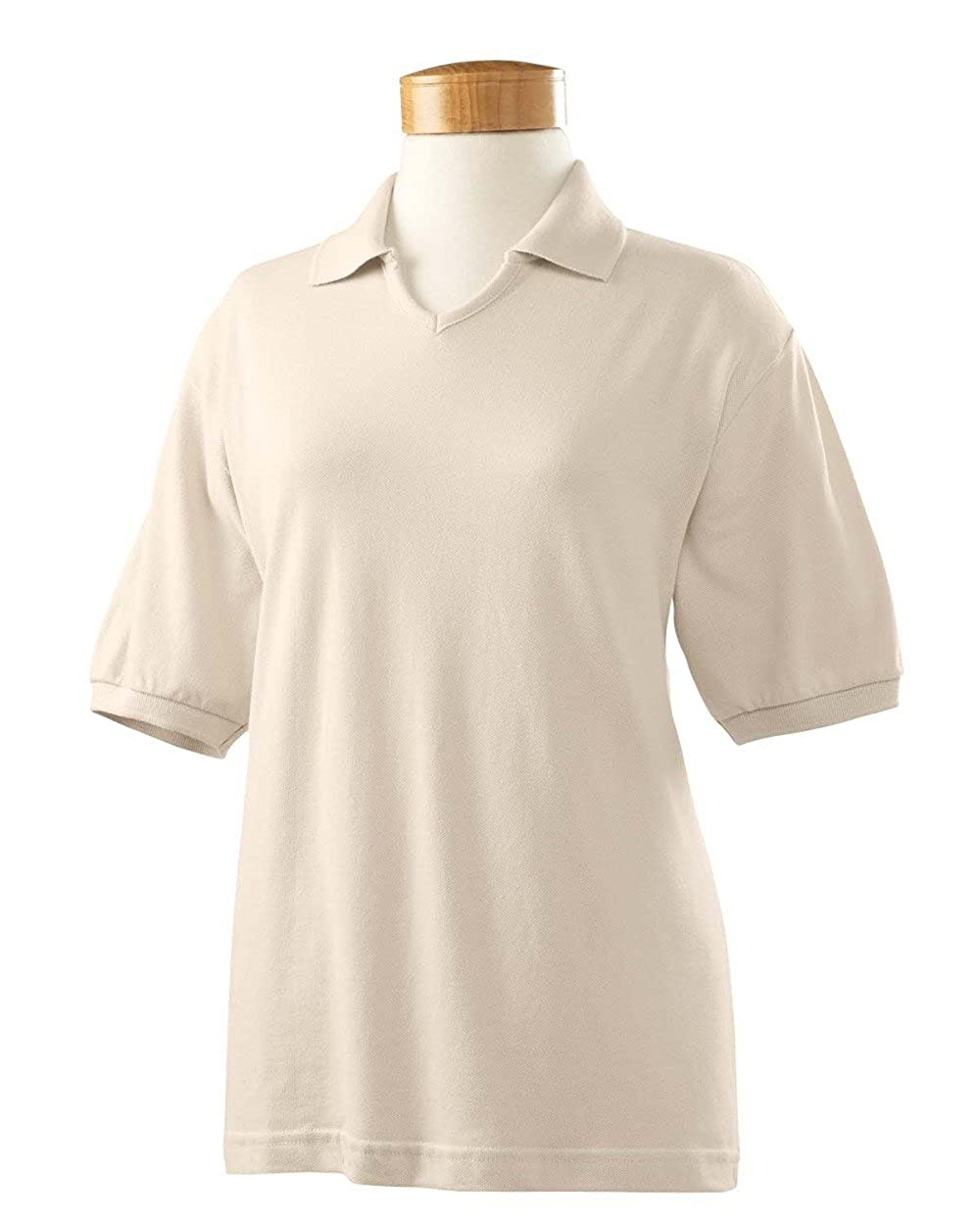Harvard Square Women s Short Sleeve 100% Washed Pique V-Neck Polo Shirt  HS302 Beige Small at Amazon Women s Clothing store  0bccb2bc6