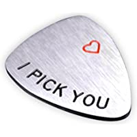 NationInFashion I PICK YOU Guitar Pick, Valentines Day coin Unisex Gifts for Him Her, Stainless steel Musical Gift for musician