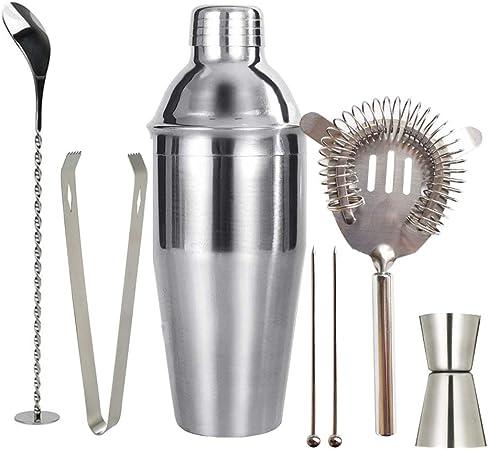 MELOP 25 oz Coctelera Bartender Kit, Acero Inoxidable Martini Shaker con colador integrado, Double Jigger, Cuchara de mezcla, pinzas de hielo, colador de alta densidad profesional Barware: Amazon.es: Hogar