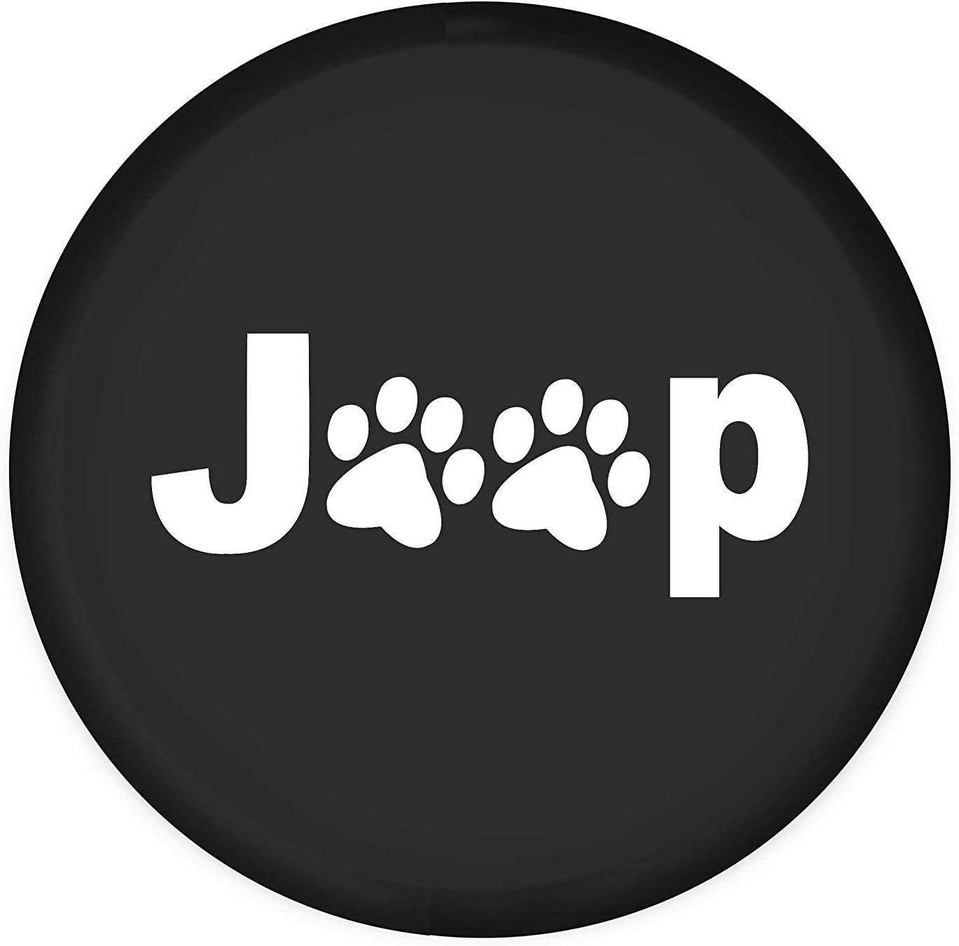 White Dog Paws, Diameter 25.98-26.77 Minisoo Spare Tire Cover,Wheel Protectors,Dog Cat Paw Print,Weatherproof Vinyl Leather,for Jeep Wrangler Sahara,Hummer H3,Toyota FJ