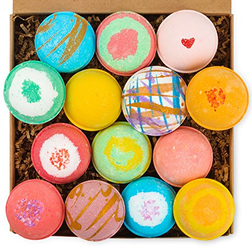 HanZá Bath Bombs Gift Set 14 USA Handmade Lush Fizzies, Shea & Coco Butter, Dry Skin Moisturizer, Perfect for Bubble & Spa Bath, Tub Tea. Mothers Day Gift Idea For Her, Wife, Women, Teen Girls