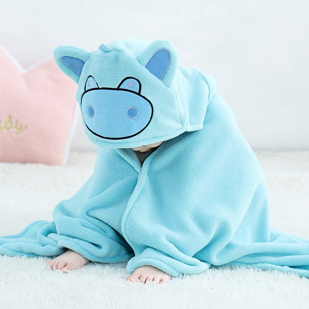 MICHLEY Hooded Baby Towel Soft Coral Velvet Hooded Bath Towels for Boys and Girls Light Blue