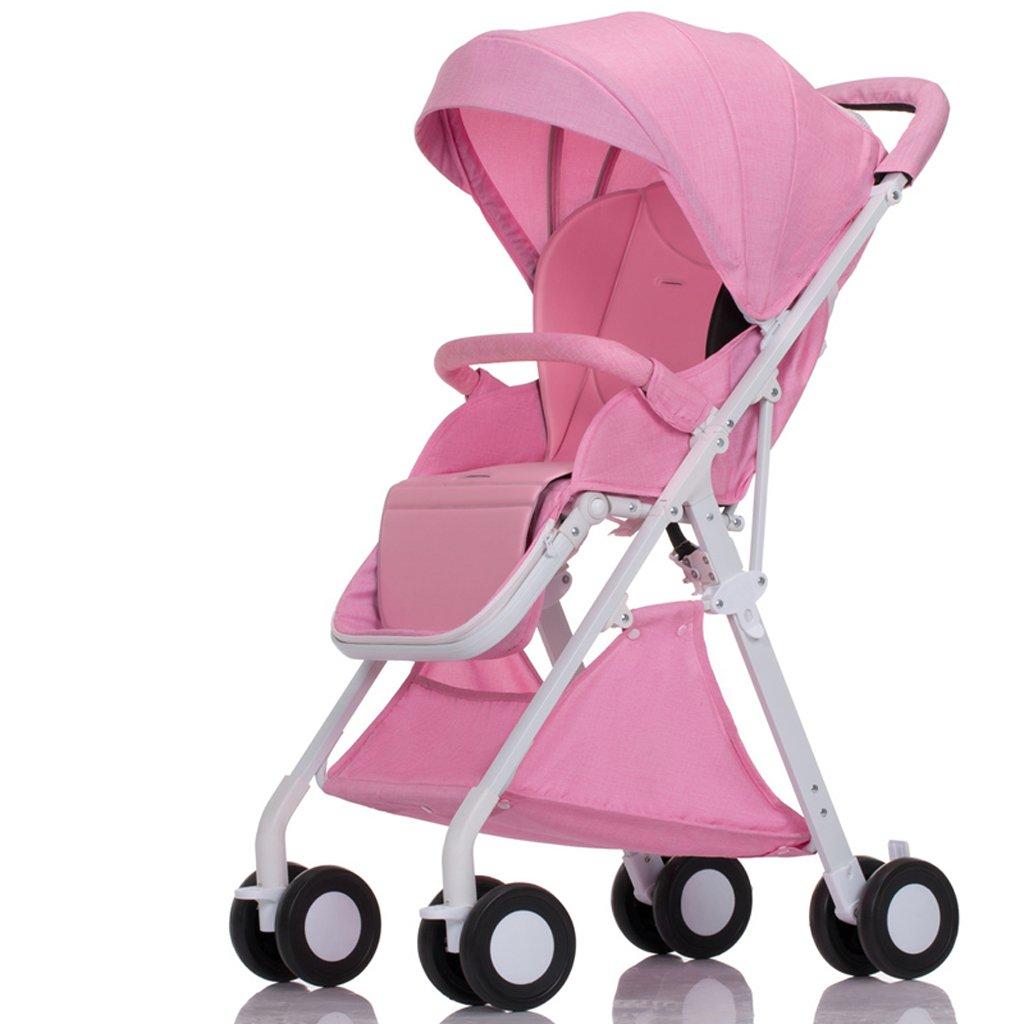 赤ちゃんのベビーカーはリクライニング軽量折りたたみ小型四輪ポータブルミニベビー傘(青)(グレー)(ピンク)(赤)55 * 40 * 105センチメートル ( Color : Pink ) B07BSZMZFL