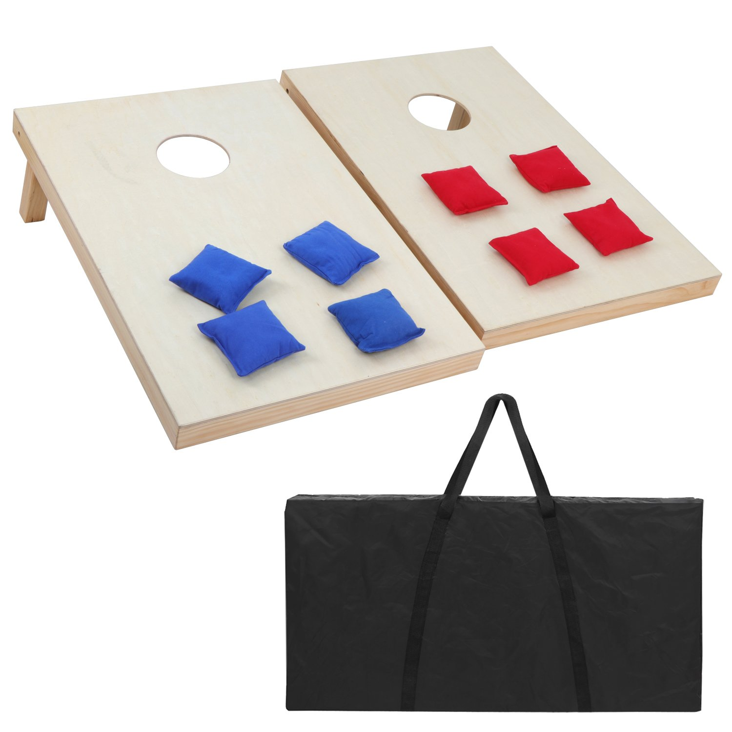 F2C Portable Aluminum/Wood/PVC Framed Bean Bag CornHole Toss Game Set Boards 3FT2FT/4FT2FT with 8 Bean Bags and Carrying Case| Original Black, Classic Red& Blue to Choose by F2C
