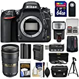 Nikon D750 Digital SLR Camera Body with 24-70mm f/2.8 Lens + 64GB Card + Case + Flash + Battery & Charger + Tripod + Filters Kit