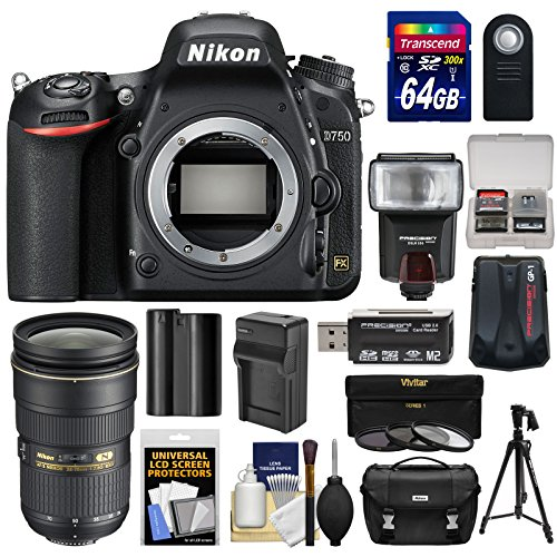 Nikon D750 Digital SLR Camera Body with 24-70mm f/2.8 Lens + 64GB Card + Case + Flash + Battery & Charger + Tripod + Filters Kit ()