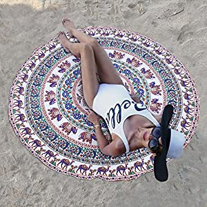 Round Wall Tapestries - Hanging MANDALA Tapestry – Bohemian Beach Picnic Blanket – Hippie Decorative & Psychedelic Dorm Decor - 48 Inch (White) by Craft N Craft India