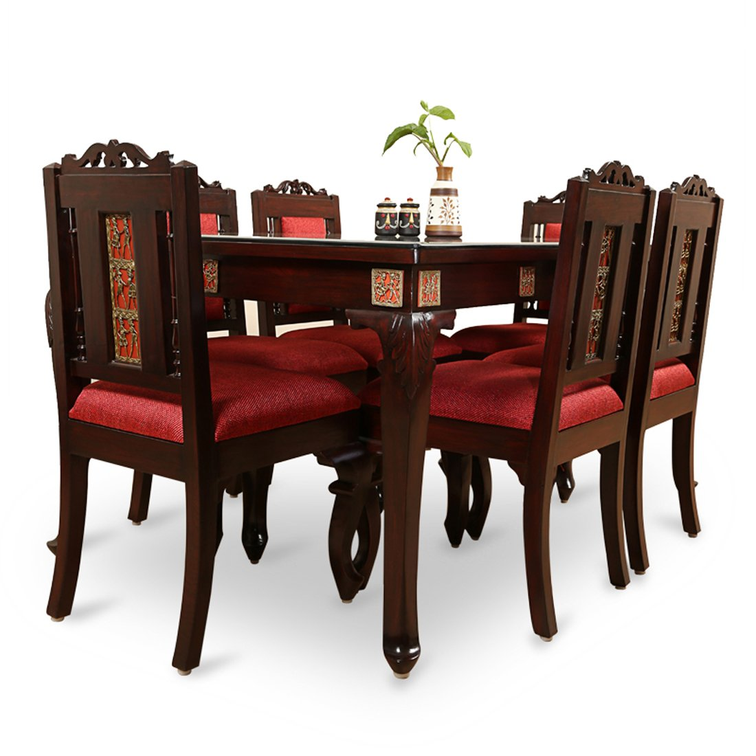 05d36d428 ExclusiveLane Teak Wood Table and Chair with Warli and Dhokra Work 6 Seater  Dining Set  Amazon.in  Electronics