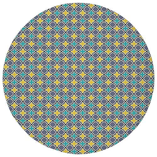 KKONEDS Round Rug Mat Carpet,Trellis,Victorian Baroque Ancient Pattern in Vibrant Colors Aged Dated Design,Purple Yellow Sky Blue,Flannel Microfiber Non-Slip Soft Absorbent,for Kitchen Floor Bathroom ()