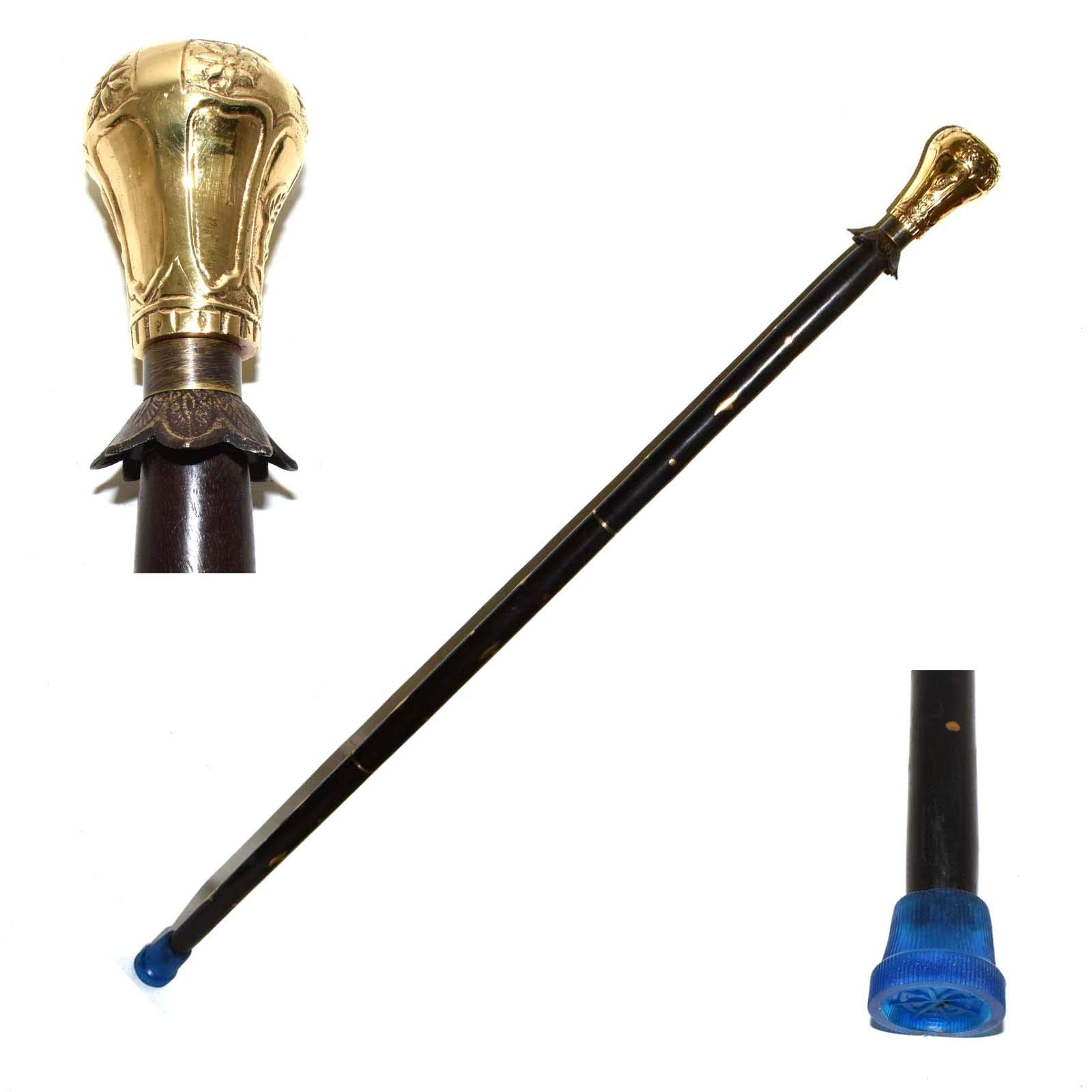 Hello Nauticals Store Solid Cast Brass Handle Cane with Wooden Walking Brass Stick for Men & Women.