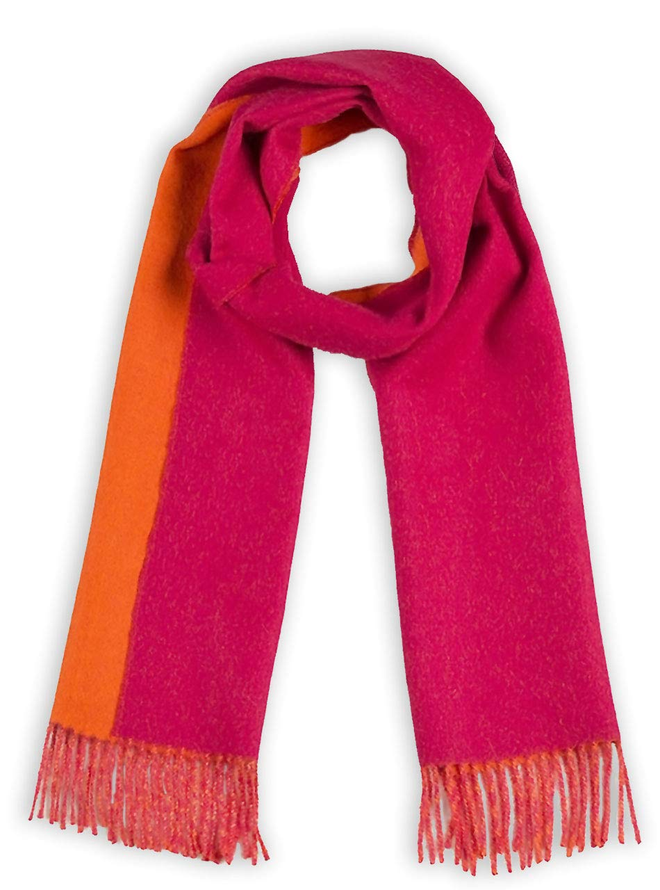 Alpaca Wool Scarf - 100% Pure Baby Alpaca - Double Sided Reversible Contrast Scarf (Raspberry Mimosa)