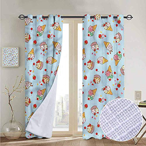 NUOMANAN Blackout Curtain Panels Window Draperies Ice Cream,Sweet Cherries,for Bedroom, Kitchen, Living Room 52