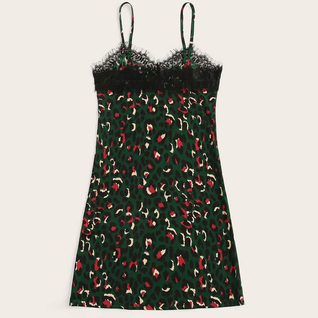 Clothful  Women Dress, Women's Ladies Leopard Print Causal Sleeveless Mini Dress Sling Summer Dress Green by Clothful (Image #2)