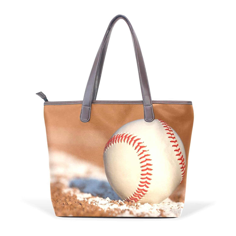 CCBHGY Women's Baseball pattern Leather Handbag Zipper Shoulder Bag Tote Bag