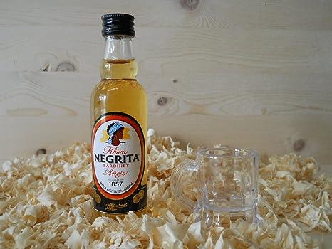 Botellin miniatura Ron Negrita Dorado con vasito chupito ...