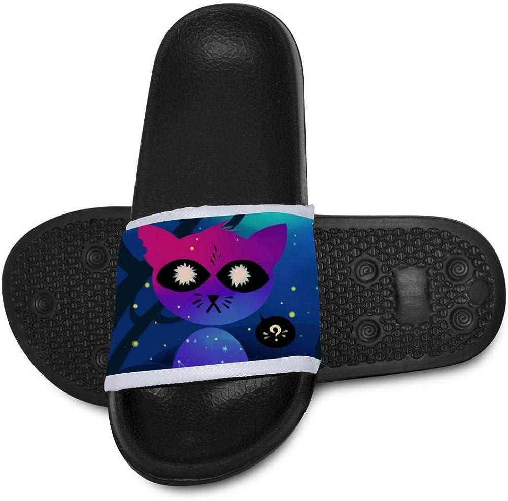 Kids Summer Slipper Galaxy Evil Cat House Slippers Shower Slide Anti-Slip Beach Pool Bath Sandals for Boys Girls