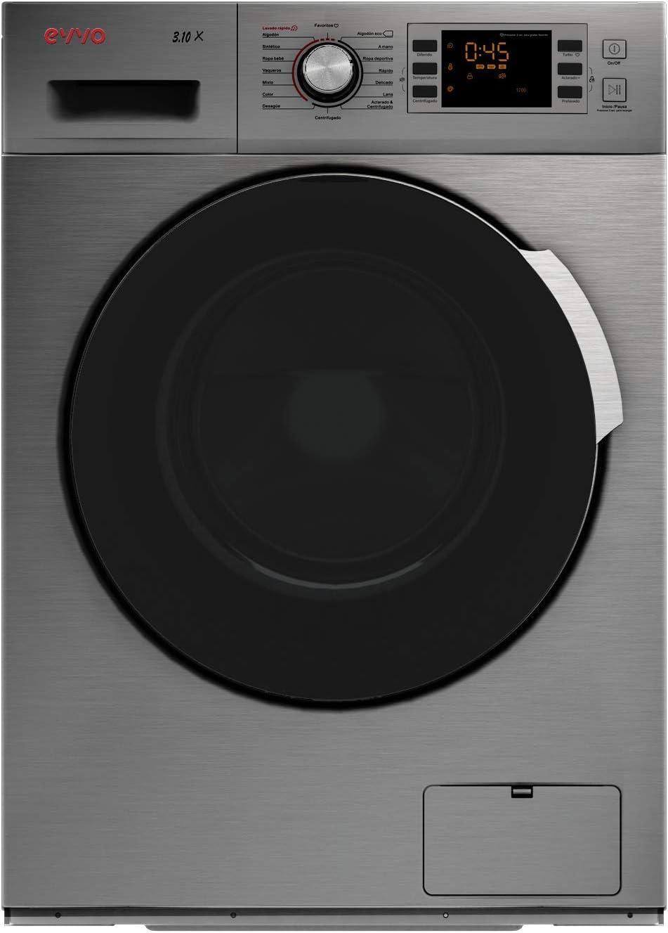 EVVO 3.10DX - Modelo 3.10DX Lavadora de carga frontal de 10 KG y 1600 RPM [Eficiencia Energética: A+++ (-30)] - Marca Española - 4 años de Garantía - Color Inox