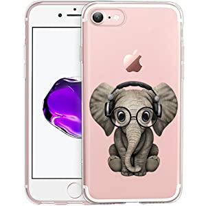 Cute Baby Elephant Clear Phone Case for iPhone 8 / iPhone 7 Customized Design by MERVELLE TPU Clear Shock-Proof Protective Case [Ultra Slim, Anti-Slippery]