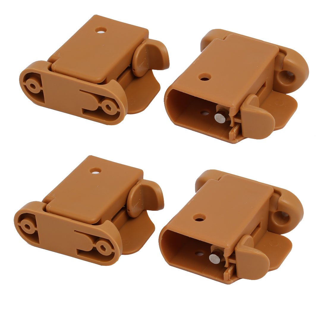 uxcell 21mmx35mm Plastic Left Right Side Guardrail Rail Buckle 2 Sets Brown w Spring